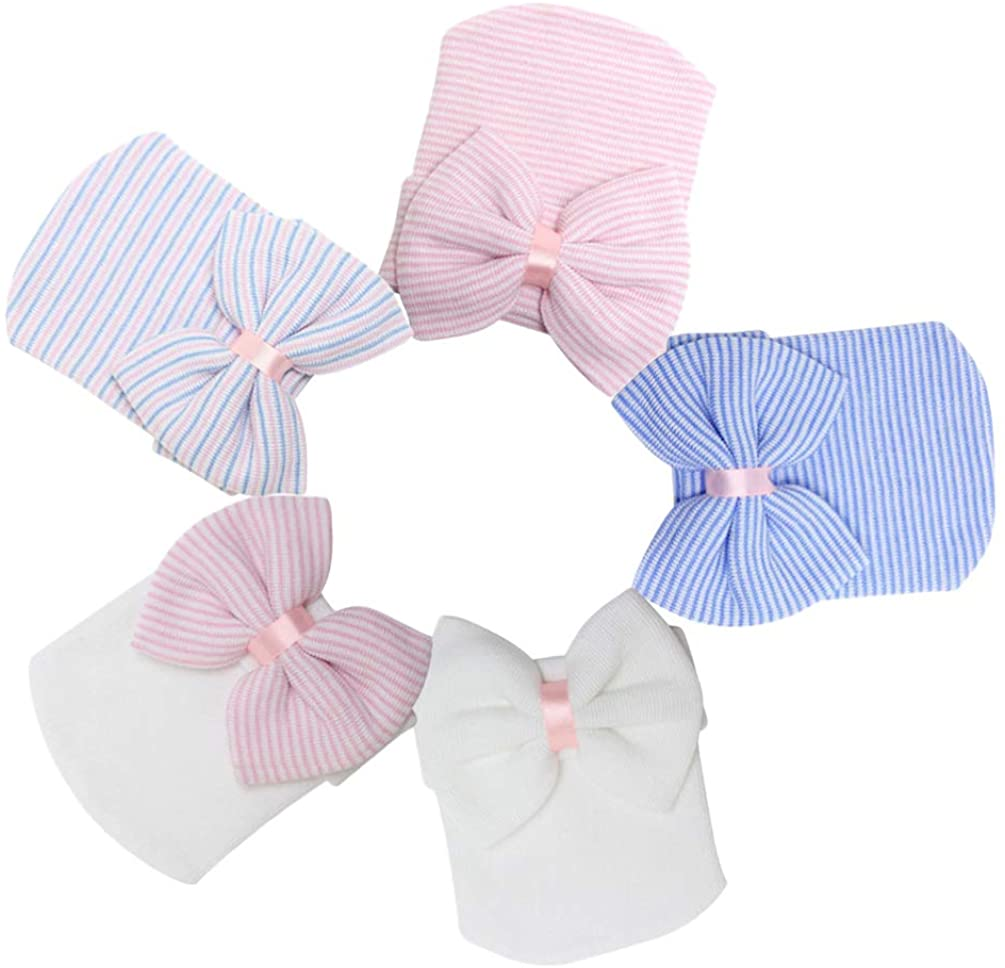 NUOBESTY Beanie Bow-Knots Hat, Large Crochet Hat Knitted Cap for Baby Infant Nowborn Blue Colorful White Pink White Hat Pink Photography Prop Newborn Baby Bowknot - 5pcs