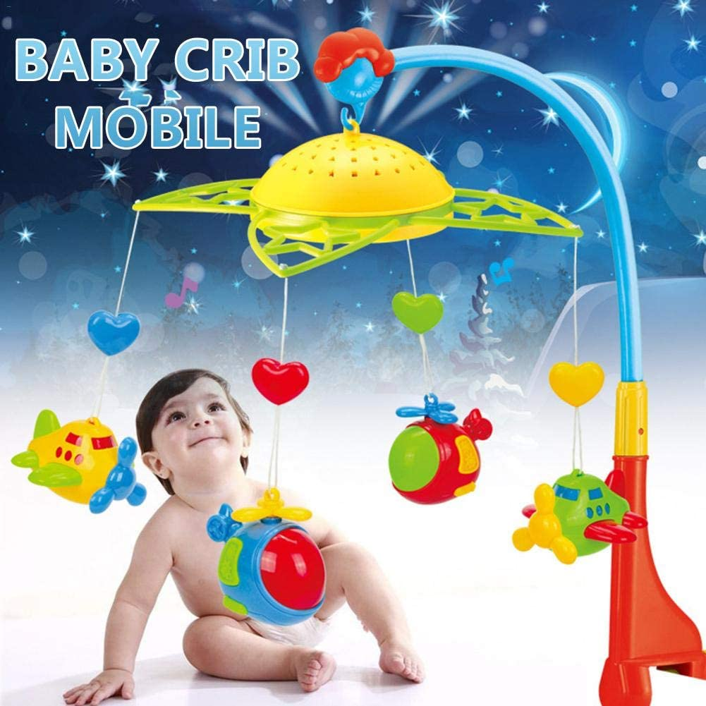 weemoment Baby Crib Mobile with Lights and Music, Ceiling Light Projection+360 Rotating+Cute Aircrafts+Safe Red Lock, Nursery Toys for Boys Girls Toddlers Sleep,Gift for Babies Easy to use