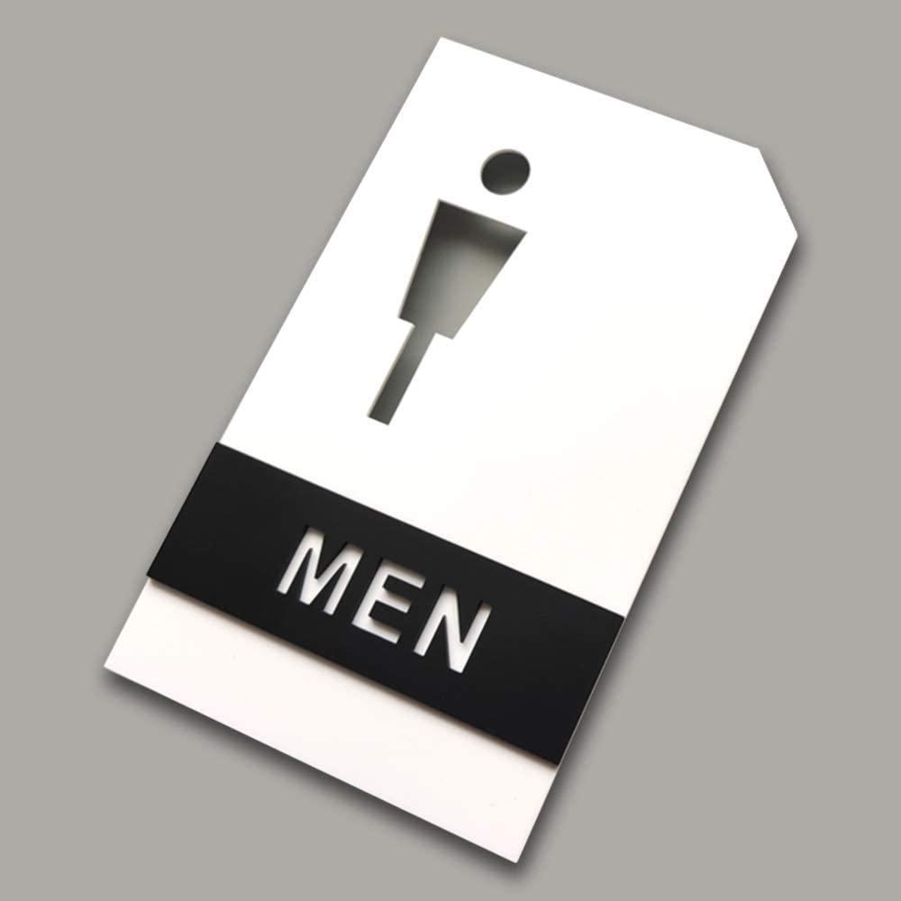 Iamagie Restroom Sign Men's and Women's washroom Toilet Door Sign Wall Sticker Bathroom Modern Acrylic Backed Signage for Offices, Shop, Restaurants(Men)