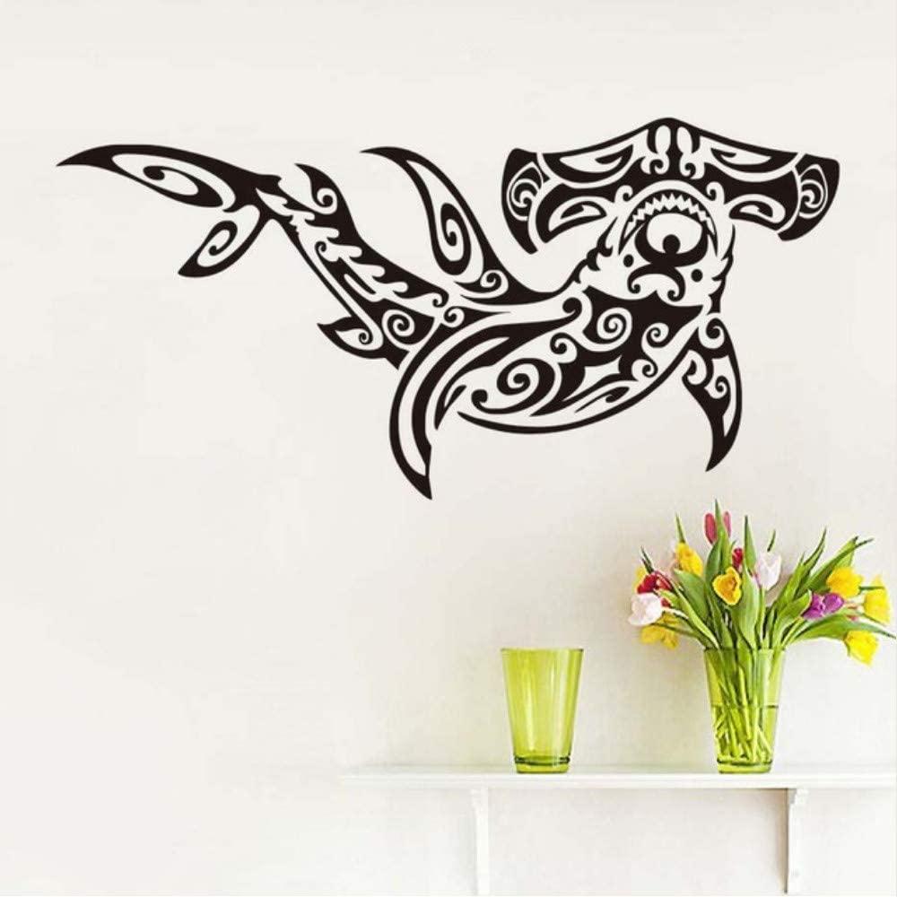 Popular Home Decor Animal Self Adhesive White Printed Tribal Hammer Shark Art Wall Sticker for Kids Room Wall Decoration Size 59 28Cm