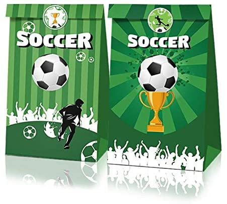 XDLEE 24 Pack Soccer Party Candy Paper Bags Summer Sports Birthday Baby Shower Holiday Wedding Gift Bags With Soccer Trophy Slice Stickers