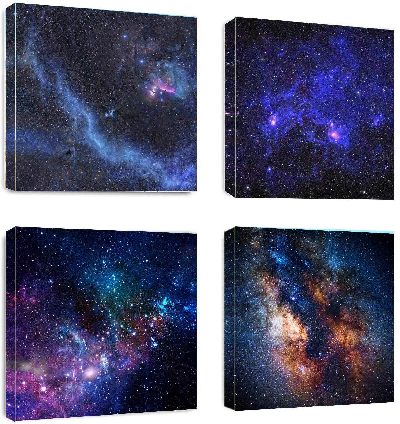 Galaxy Wall Art Canvas Prints - Abstract Fantasy Nebula Galaxy Picture Painting - Modern Space Wall Artwork Framed for Home Boys Kids Room Wall Decor -12x12inchx4pcs