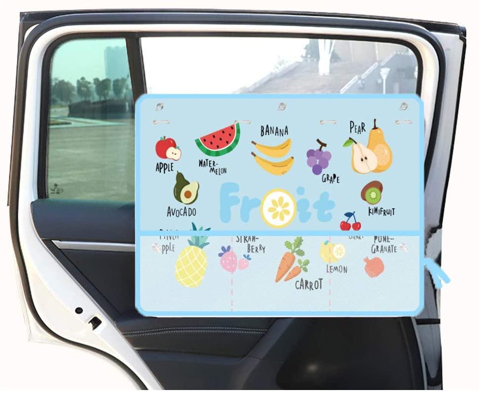 XCBYT New Car Windows Sun Shade - Universal Cartoon Cute Fruit Pattern for Baby Sucker Children Summer Sunscreen Retractable Thermal Insulation Opaque Side Window Curtains (Blue)