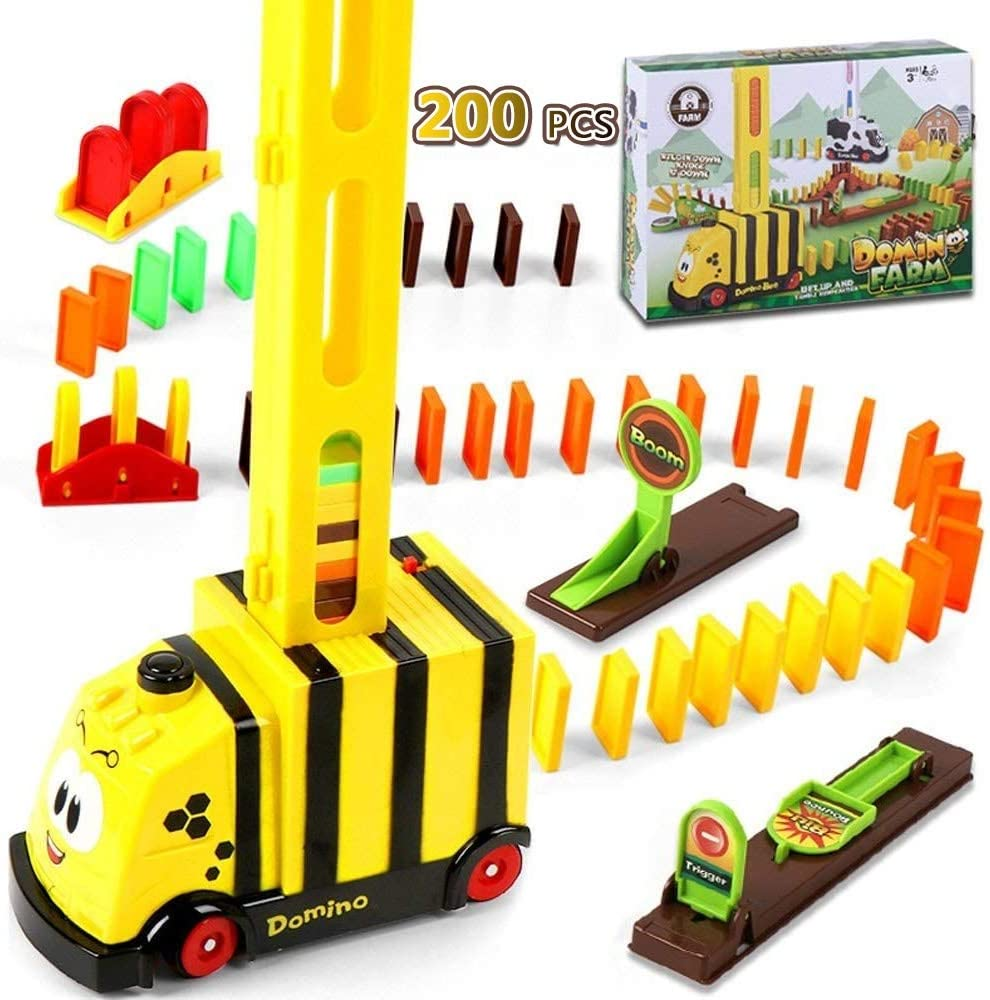 200PCS Domino Train Toys Set,Colorful Plastic Safe Domino Blocks,Automatic Domino Barriers Refill Pack Toy,for 3-10 Year Old Toys, Boys Girls Creative Gifts for Kids (Color : Little bee)