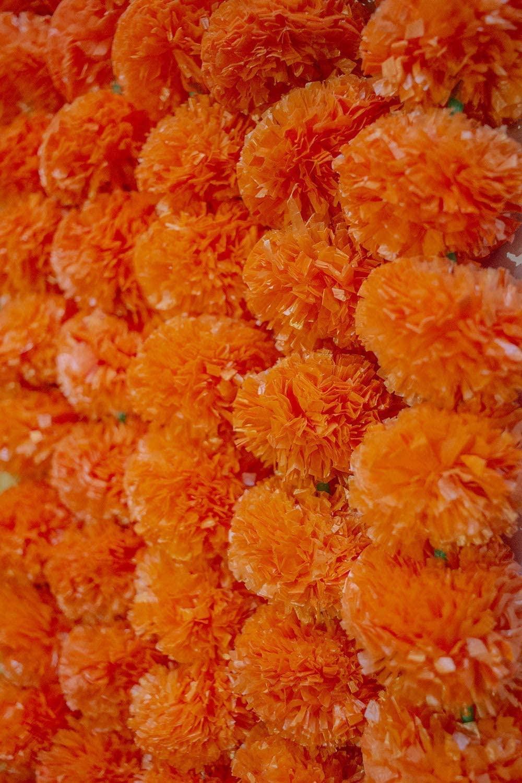 Krati Exports - 5 feet Marigold Garland |Indian/American Wedding Party Mantle Decoration, Faux Garlands Wedding Garland, Diwali Decoration, Spring Bush Floral! (Orange, 50)