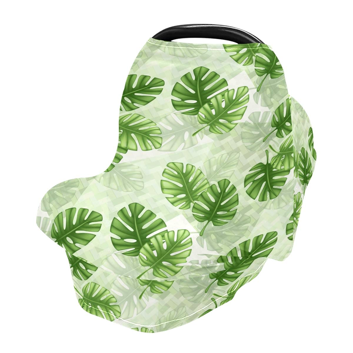 Baby Car Seat Cover Tropical Leaf Monstera Nursing Covers Breastfeeding Scarf Infant Carseat Canopy for Mom Baby Gift