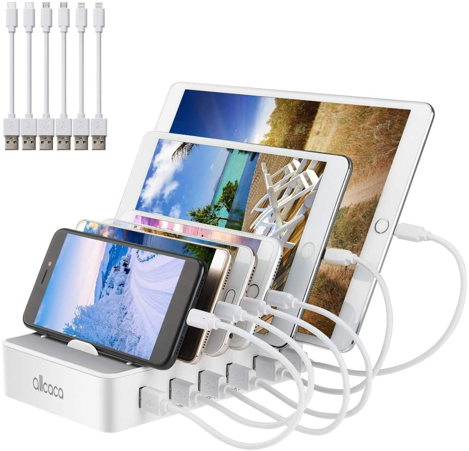 allcaca Fast Charging Station for Multiple Devices-Charging Station Family Charge Docking Station & Organizer with 6 USB Ports Mixed Cables-Compatible with iPhone iPad and Android Phone and Tablet