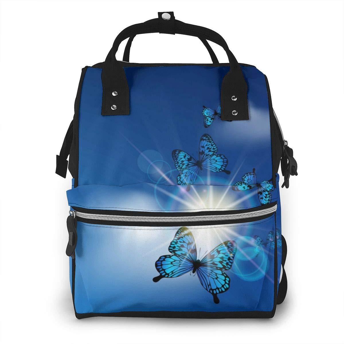 Sunshine Blue ButterflyDiaper Bag Bookbag School Shoulder Multi Functional Stylish Large Backpack Capacity Nappy Bags Mummy Durable Travel
