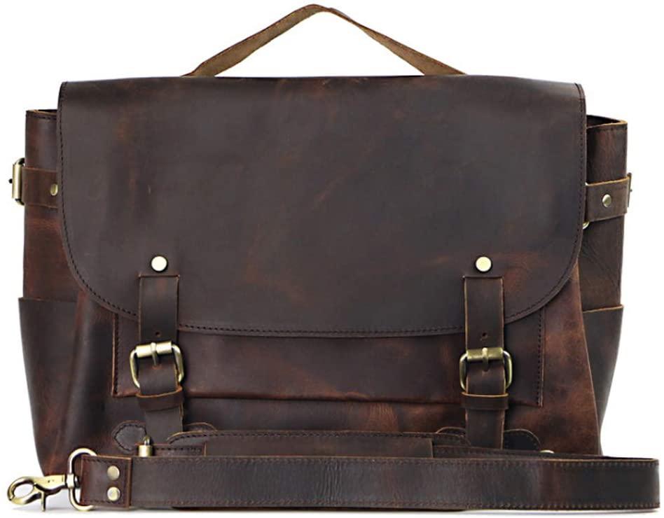 LederleiterUSA Genuine Leather Briefcase for Men Leather Laptop Bag IPAD Bag Shoulder Bag Crossbody Bag Messenger Bag Business Work Bag