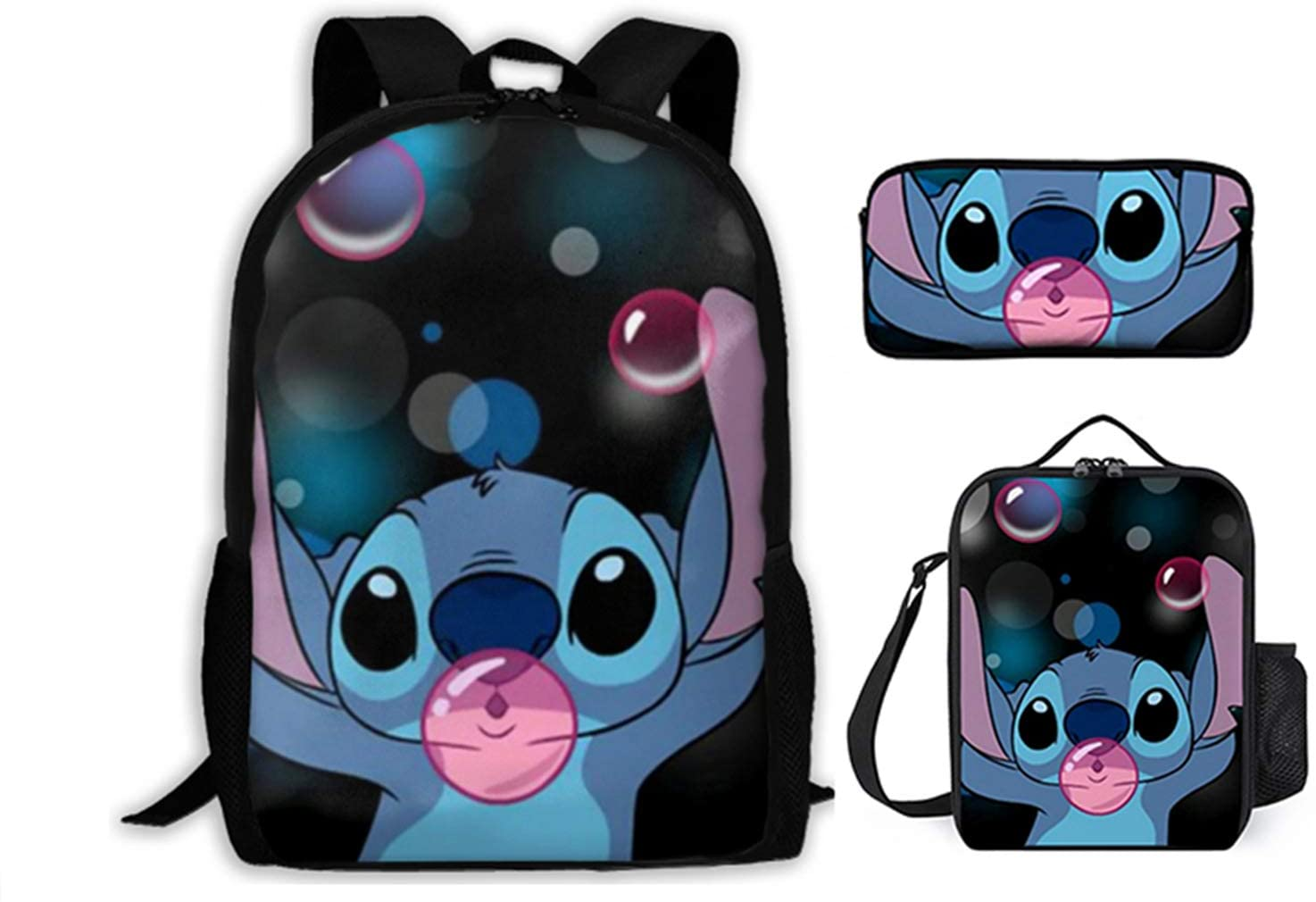 Li-Lo And St-It-Ch 3 Pieces School Backpack Set With Lunch Bag Pencil Case For Boys Girls, Large Capacity.