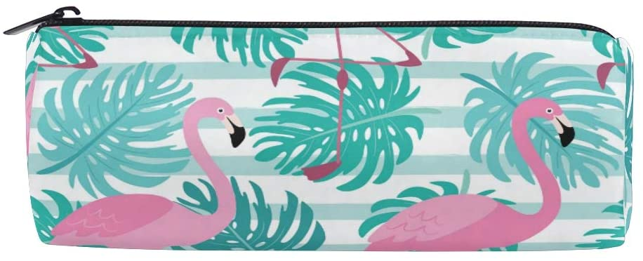 Pencil Pen Case Durable Pen Holder Green Leaves Flamingos Pouch Stationery Bag Coin Purse Cosmetic Makeup Bag for Middle High School Office College