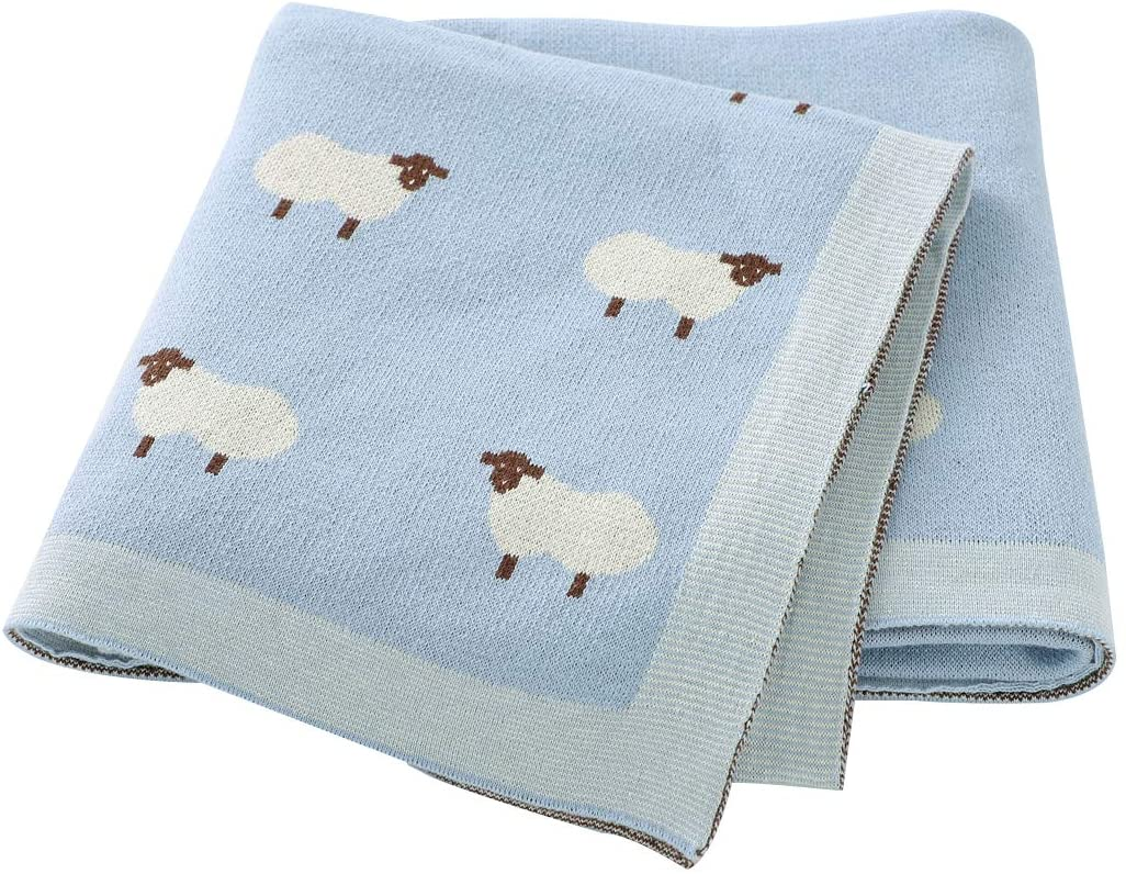 Ziyunlong Baby Blanket Knitted Toddler Blanket for Boys and Girls Soft Neutral Thermal Crib Blanket Pink LightBlue(Size 30 x 40 inches)