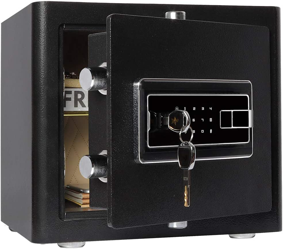 Lovndi Digital Security Safe Box for Home Office-Double Safety Key Lock and Password, Home Safes-0.94 Cubic Feet, Black