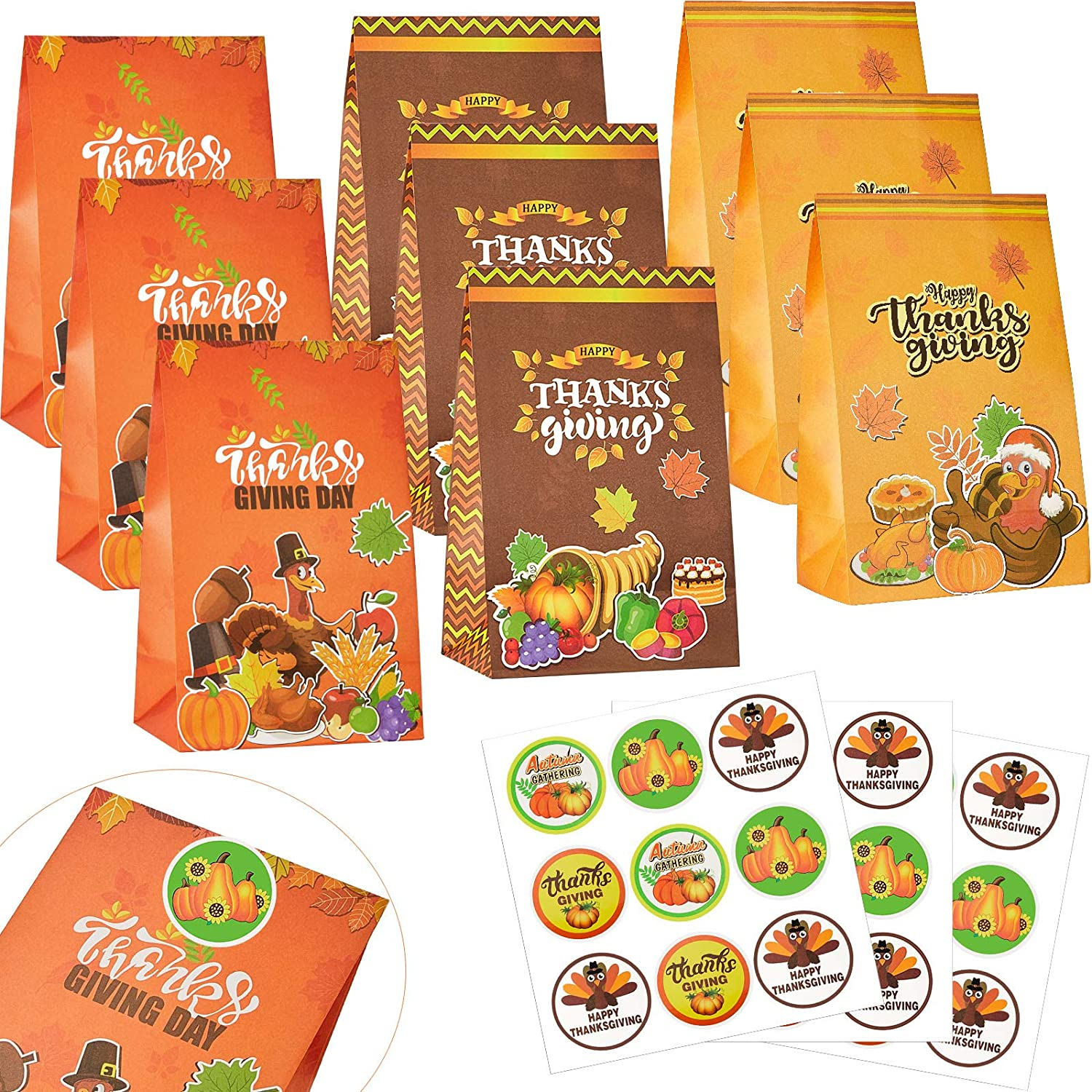 24 Pieces Thanksgiving Treat Bag Fall Leaves Party Bags Autumn Treat Boxes Paper Bags and 24 Pieces Thanksgiving Bags Sealing Stickers for Thanksgiving Party Favor Autumn Party Themed Party Supplies