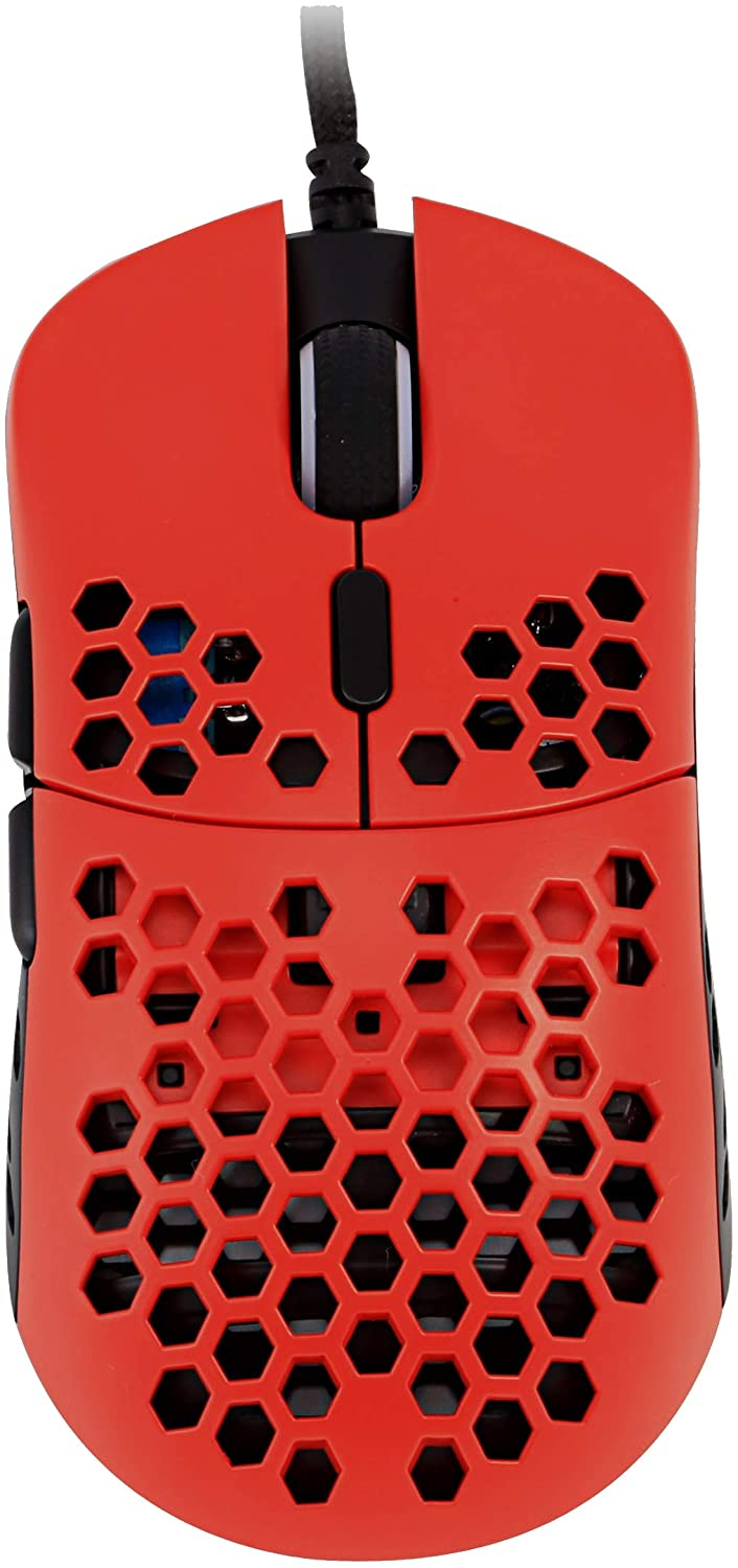 HK Gaming Mira M Ultra Lightweight Honeycomb Shell WiredRGB Gaming Mouse - Up to 12 000 cpi | 6 Buttons - 63g Only (Mira-M, Monza Red)