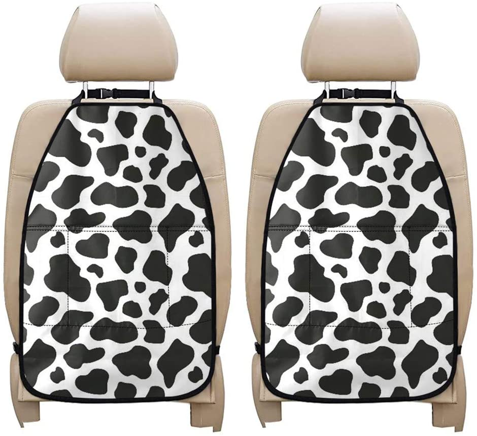 Aoopistc Stylish Cow Print Black White Universal Car Seat Back Kick Protector for Kids Duarable Waterprrof Fit Most Vehicle SUV Van Gifts for Men Women