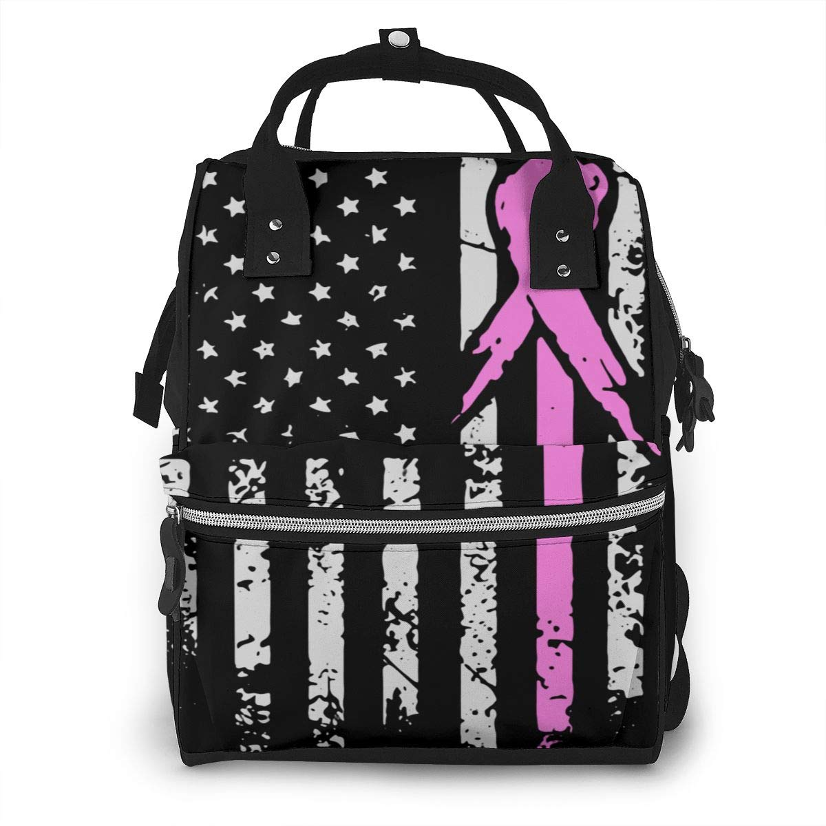 Breast Cancer Awareness of American Flag Diaper Bag Backpack Waterproof Multi-Function Baby Changing Bags Maternity Nappy Bags Durable Large Capacity for Mom Dad Travel Baby Care