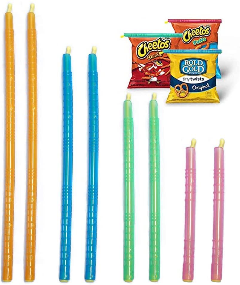 8 PCS Stay Fresh Bag Sealer Sticks,Magic Bag Sealing Sticks,Chip Clips Plastic Bag Sealer Stick,4 Sizes Reusable & Eco-Friendly for Kitchen & Pet Food Storage
