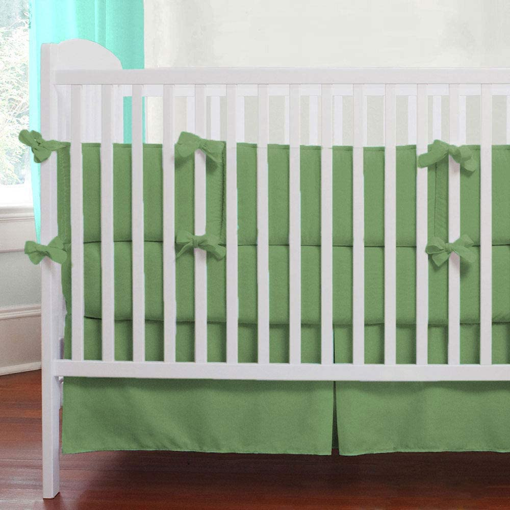 SuperLinen 650TC Crib Bed Skirt Dust Ruffle, 100% Natural Cotton, Nursery Crib Toddler Bedding Skirts for Baby Boys or Girls, 14