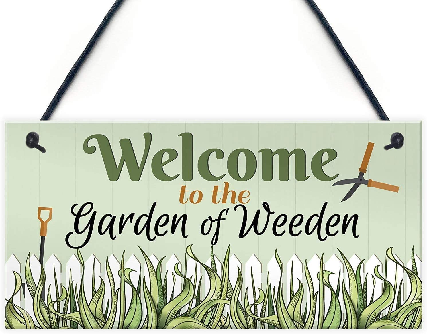 POWERMAZ Welcome to The Garden of Weeden Novelty Garden Shed Hanging Wood Sign Plaques Friendship Gifts 12x6(BW1994)
