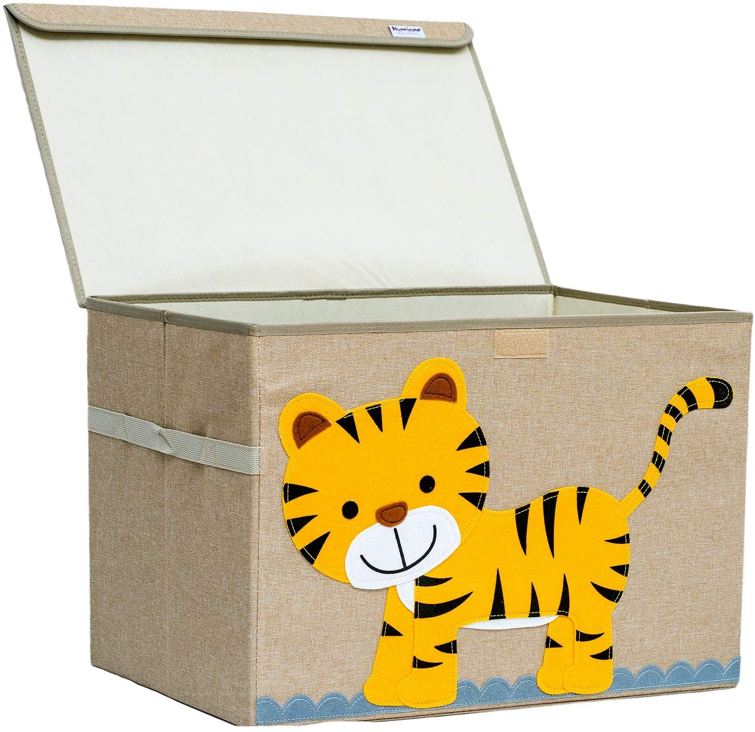 Hurricane Munchkin Large Toy Chest. Canvas Soft Fabric Children Toy Storage Bin Basket with Flip-top Lid. Woodland Forest Safari Toy Box for Kids, Boys, Girls, Toddler and Baby Nursery (Tiger)