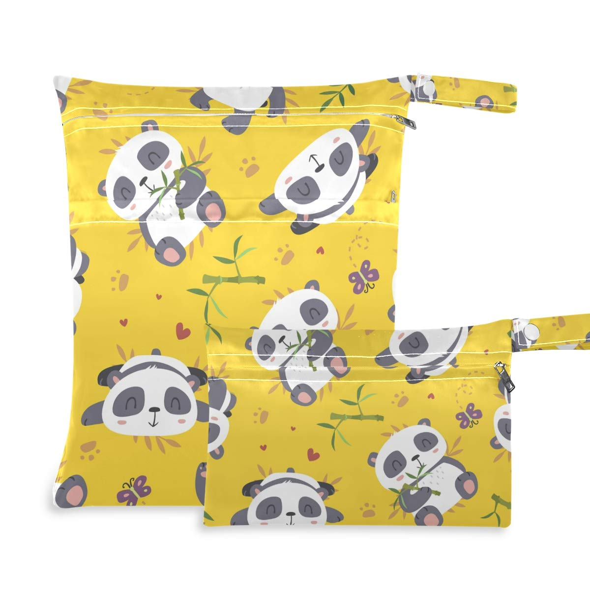 Qilmy 2pcs Panda Cloth Diaper Wet Dry Bag Waterproof Reusable Wet Dry Organizer with Zipper for Travel, Beach, Pool, Diapers, Gym Clothes, Wet Swimsuits