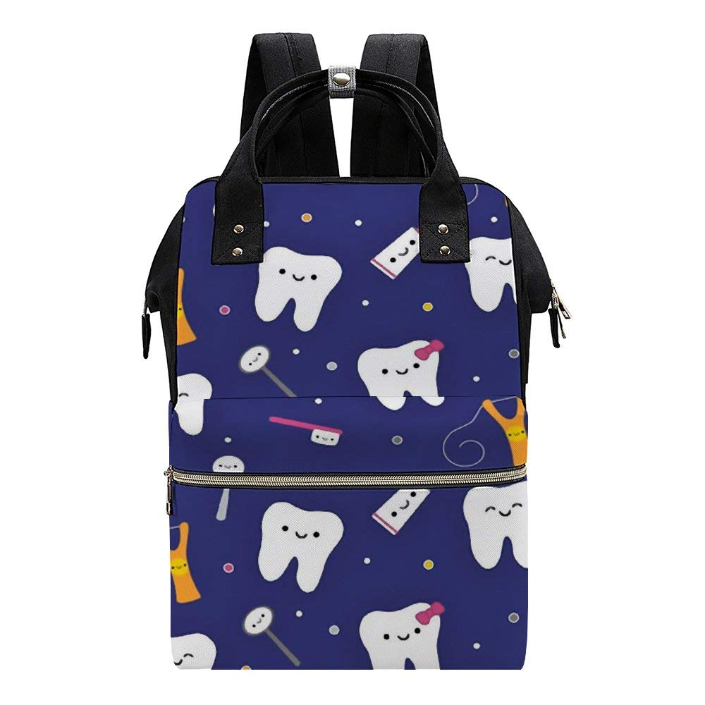 Blue Dental Fabric Toothpaste Diaper Bag Backpack Multipurpose Baby Changing Bags Daypacks Maternity Nappy Bags for Mom Dad