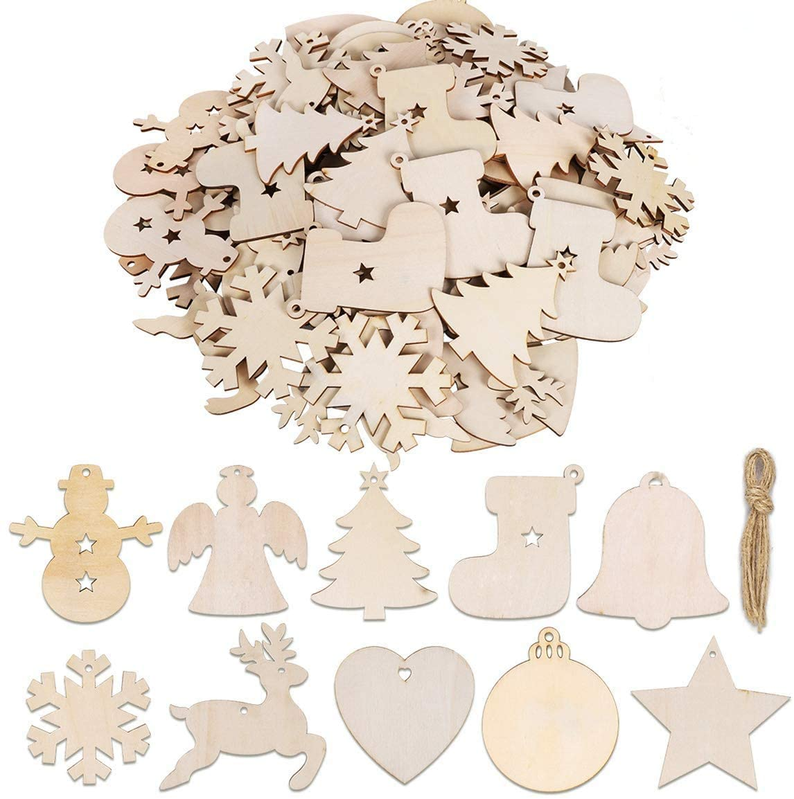 100 Pieces Unfinished Wooden Ornaments Christmas Wood Ornaments Hanging Embellishments Crafts for DIY, Christmas Hanging Decoration in 10 Shapes