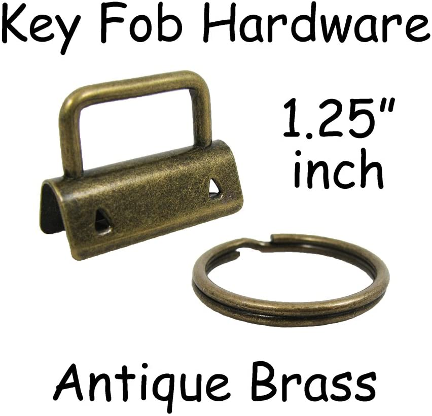 10 Key Fob Hardware with Key Rings Sets - 1.25 Inch (32 mm) Antique Brass