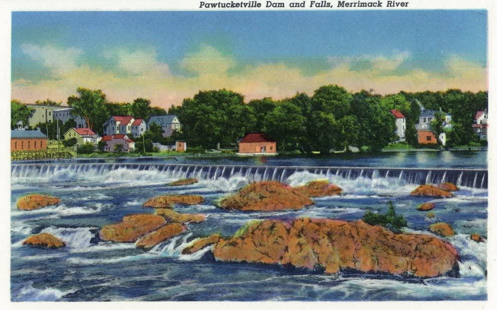 Lowell, Massachusetts - Merrimack River View of Pawtucketville Dam and Falls (9x12 Art Print, Wall Decor Travel Poster)
