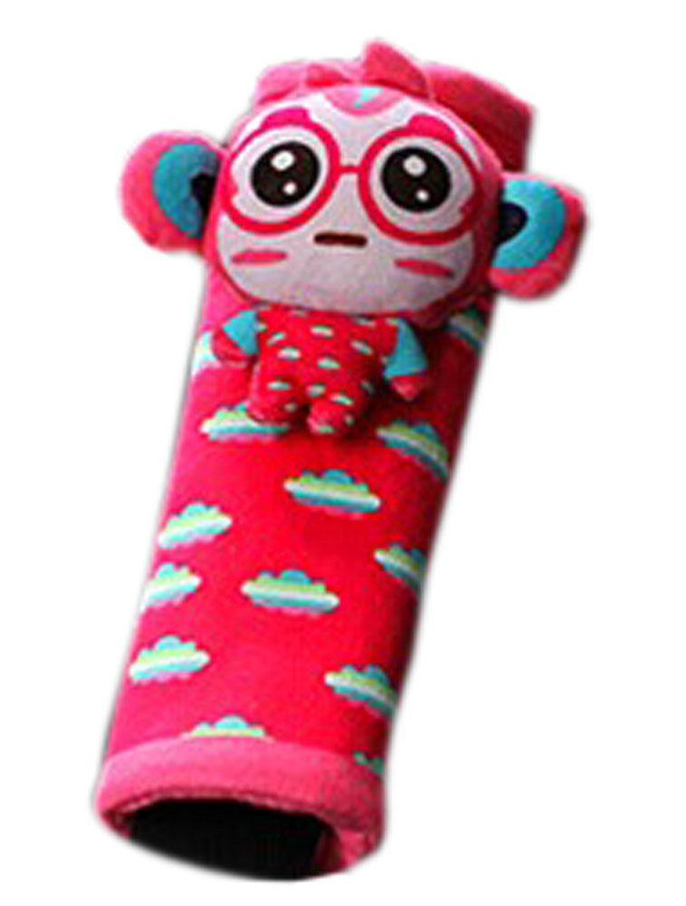 Creative Safe Car Soft Seat Belt Strap Cover, Lovely Catoon Monkey, Red