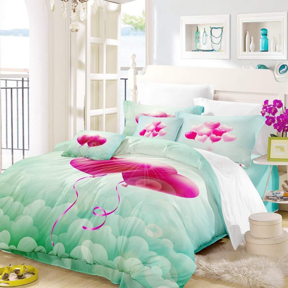 REALIN Romantic Flowers Duvet Cover Set Love Red Rose Balloon Bedding for Weddings Couples Microfiber Quilt Cover/Sheet/Pillow Shams,Twin/Full/Queen/King