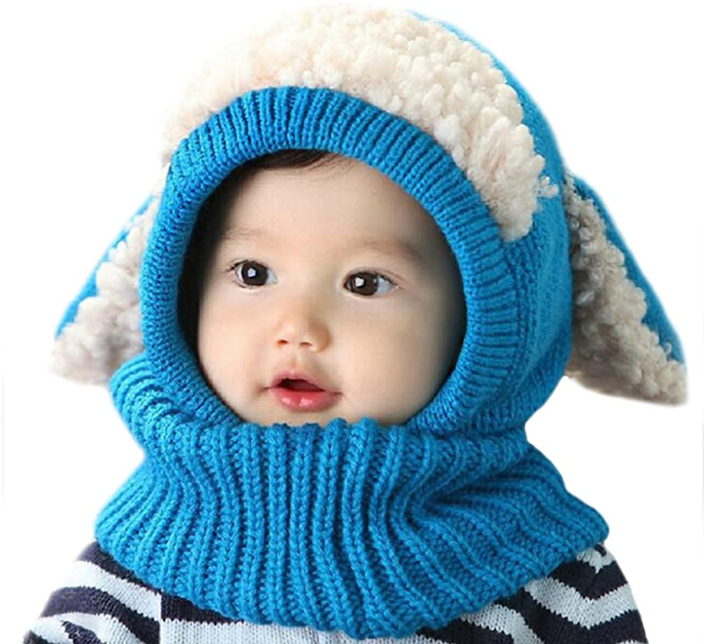ECHERY Baby Boys Girls Winter Warm Hood Scarves Thick Skull Caps Woolen Earflap Hat