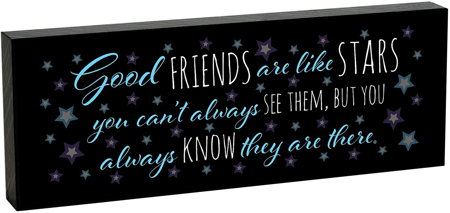 Elanze Designs Good Friends are Like Stars 8 x 3 Wood Double Sided Table Top Sign Plaque