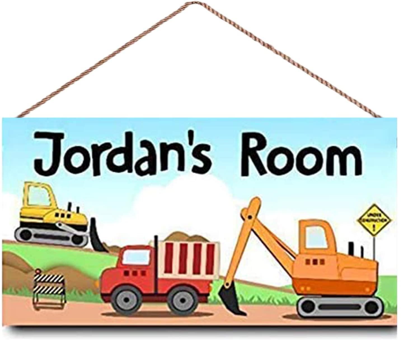 MUPIANLX Personalised Kids Bedroom Door Sign, Custom Construction Trucks