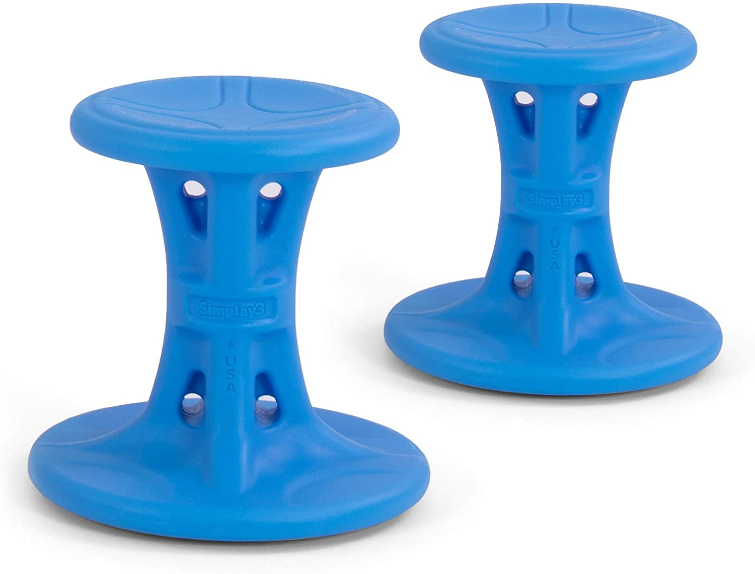 Simplay3 Wiggle/Wobble Kids Flexible Active Sitting Chair/Stools (2-Pack) to Improve Focus, Posture, Strengthen Core - Ages (5-8) 14 inch Blue - Made in USA, Ergonomic Design