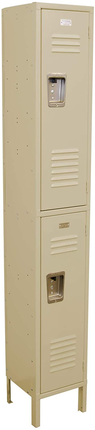 Q2R1212721-101 2 Tier 1 Wide Corridor Locker with 2 Openings 12W x 12D x 78H Khaki Unassembled