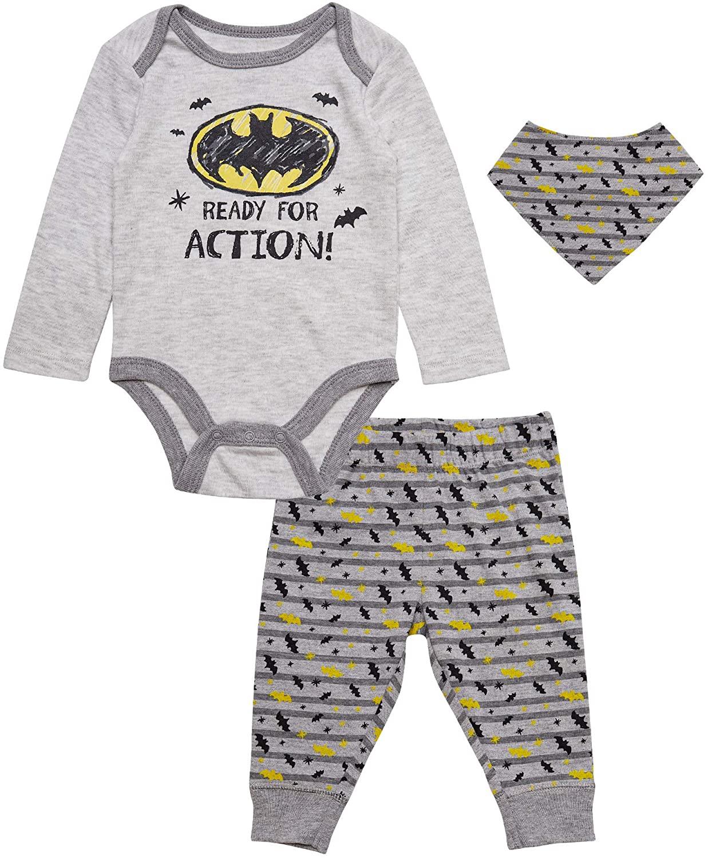 DC Comics Newborn Boys Batman 4 PC Bodysuit Pant Bib Set