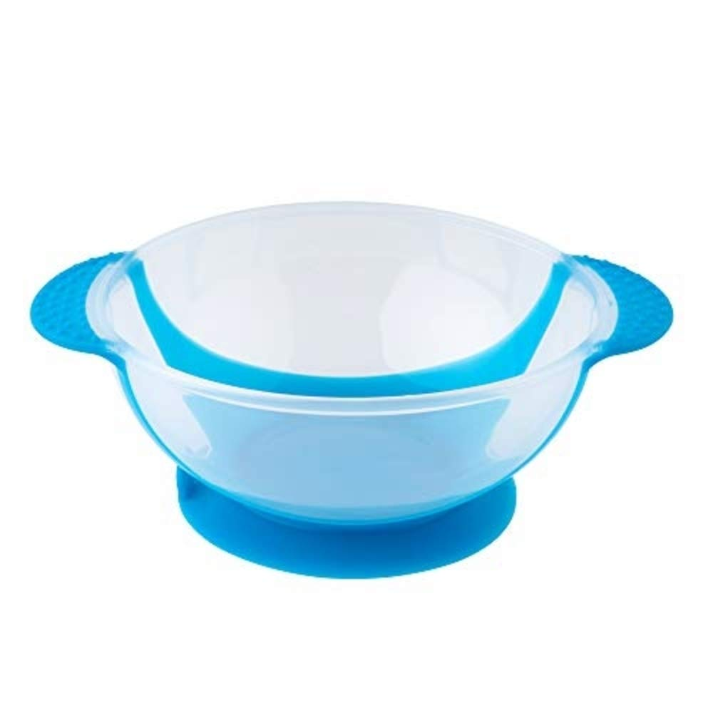 Table-Tot Bowl for Kids, Baby-Safe Silicone Suction Bowl for Toddlers by Juliaire (Blue Training Bowl) l)