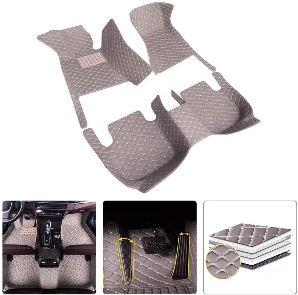 Custom Car Floor Mats for GMC Sierra 1500 2016-2019 PU Leather Carpets Liners Gray