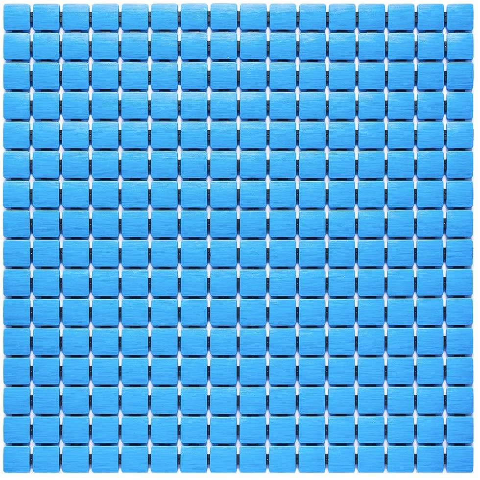 Bligli Shower Mat Non Slip Bath Mats with Drain Holes Suction Cups Anti Slip Bathroom Floor Stall Mat (Blue 21x21 inch)