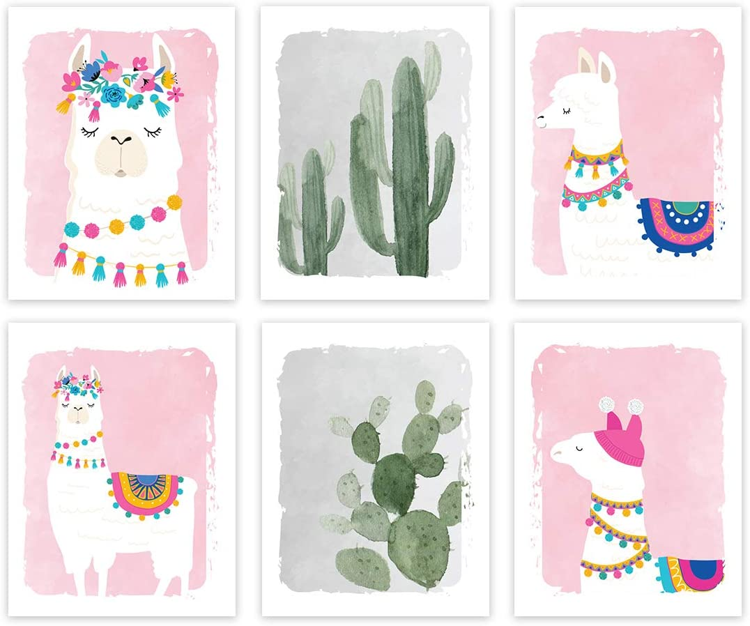 Andaz Press Llama Theme Nursery Kids Room Unframed Hanging Wall Art Poster Home Decor, 8.5x11-inch, Girl Pink, Watercolor Cactus Llama Graphics, 6-Pack, No Frames, Alpaca