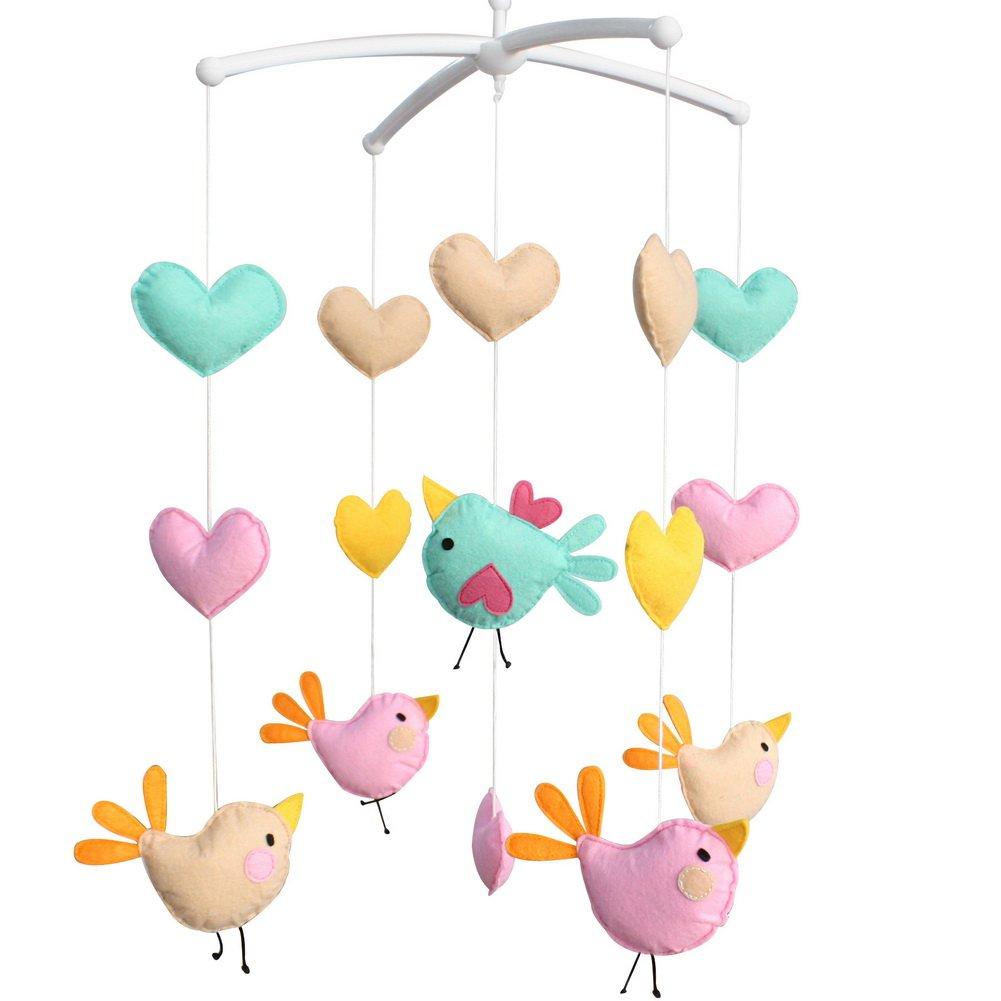 Nursery Crib Decor Musical Mobile [Birds] Exquisite Handmade Toys