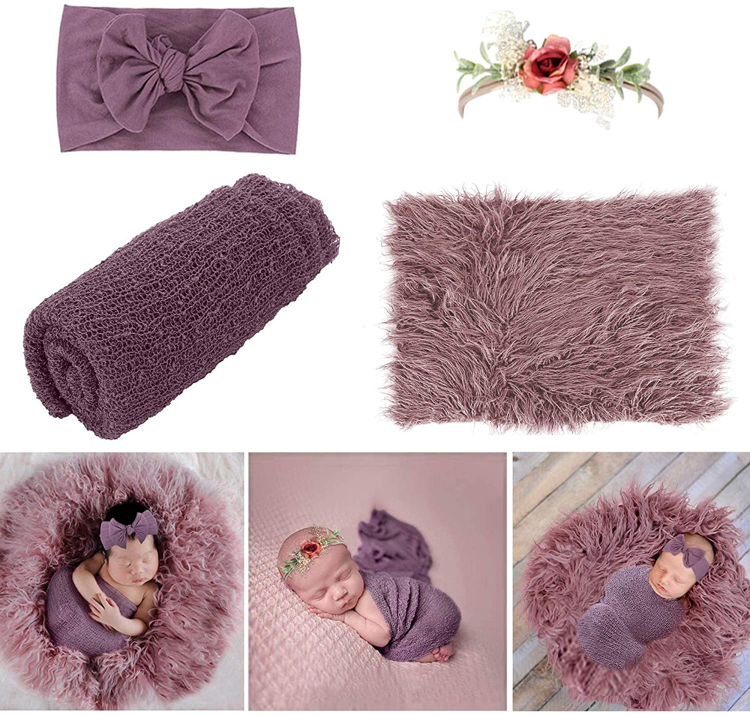 Newborn Photography Props - 4 PCS Baby Photo Props Long Ripple Wraps DIY Blanket with Headbands, Purple Toddler Wraps Photography Mat Set for Baby Boys and Girls