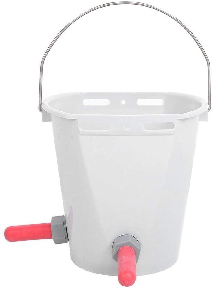 Conlense HL-MP70 White Plastic Multiple Nipples Lamb Calf Milk Feed Bucket for Cattle Sheep Livestock(Two Nipple)