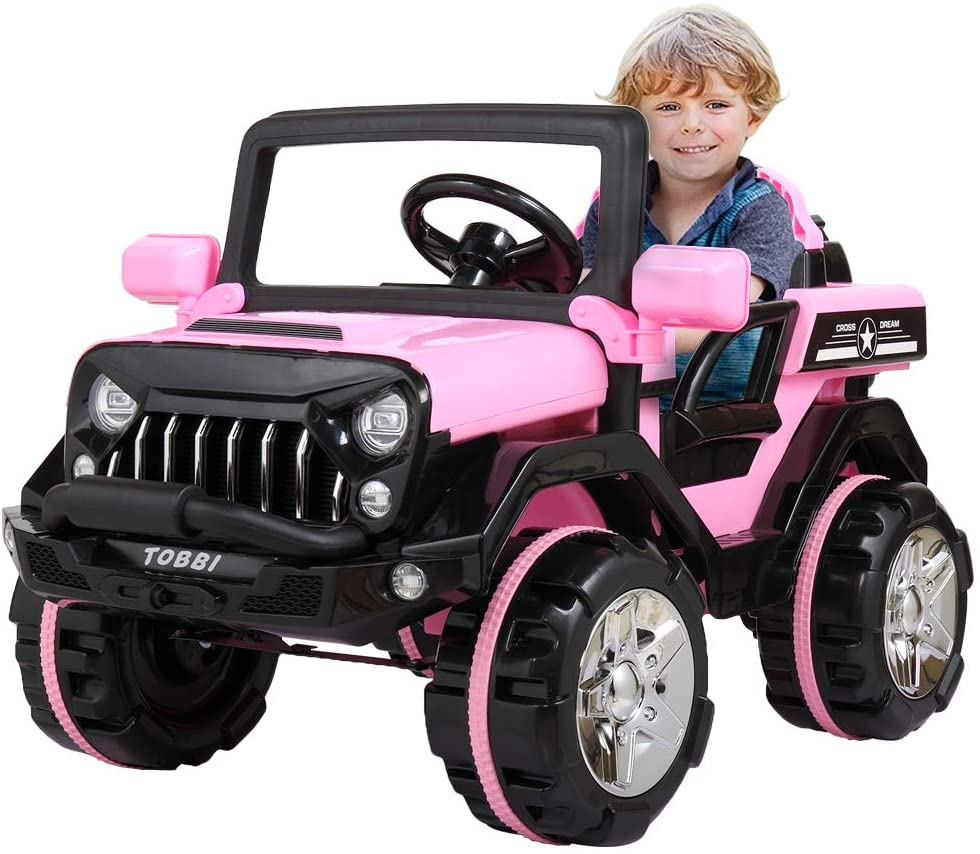 JAXPETY 12V Kids Ride on SUV Car w/ 2.4G Remote Control and Complete Equipment, 3 Speeds, Safe,Indoor Outdoor,Pink