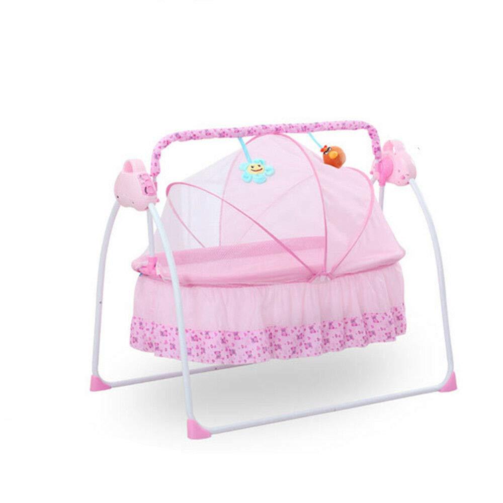 DONNGYZ Electric Baby Crib w/Music Cradle Rocking Infant Bassinet Sleeping Bed Auto Bassinet Swing Sleeping Bed Auto-Swing Big Baby Bed,Pink
