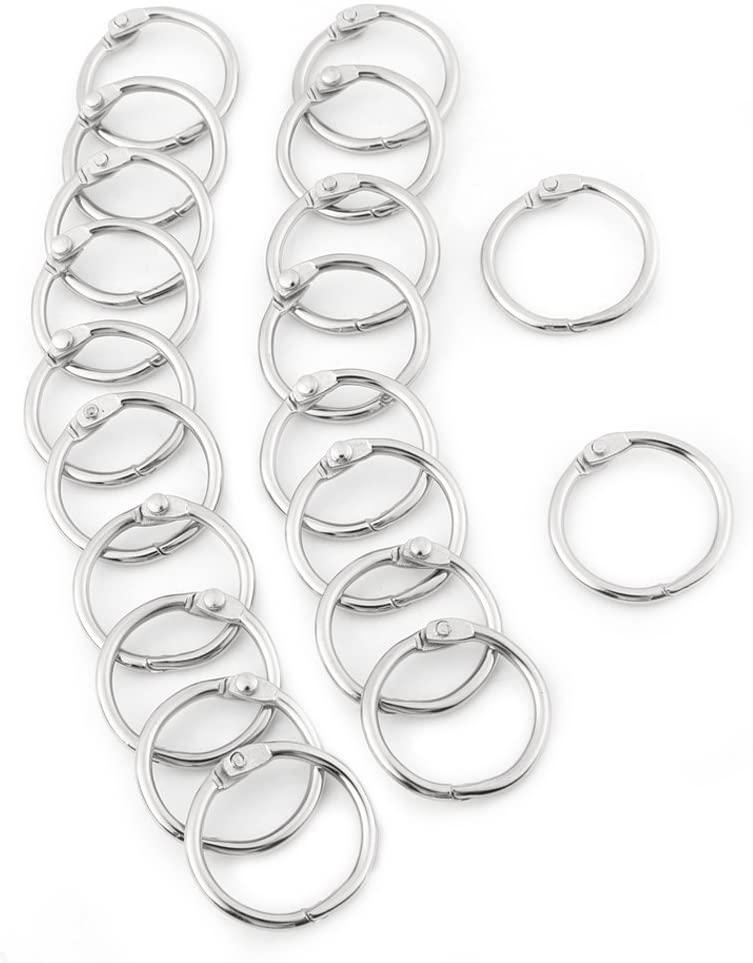 Split Key Ring - 3Sizes 20PCS Metal Hinged Ring Book Binder Split Key Rings Album Scrapbook Loose Leaf Cli(25mm)