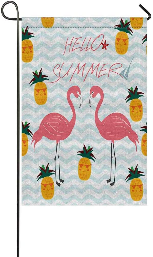 INTERESTPRINT Hello Summer Flamingo and Pineapple in Blue Stripes Ocean Waves Garden Flag House Banner, Decorative Outdoor Decor, 12