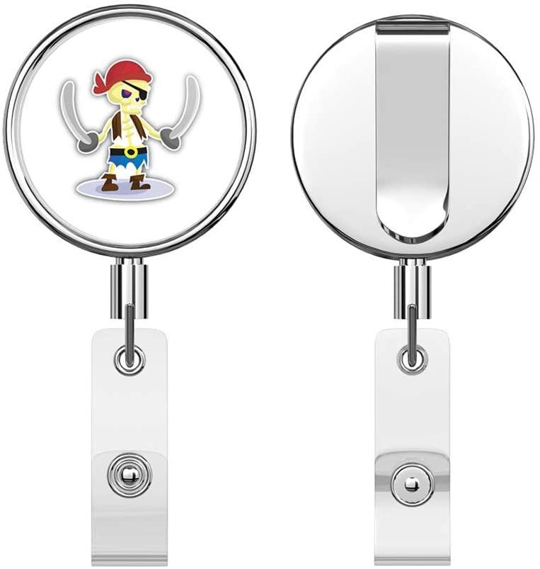 Cartoon Skeleton Pirate Retractable Reel Chrome Metal Badge ID Card Holder Clip